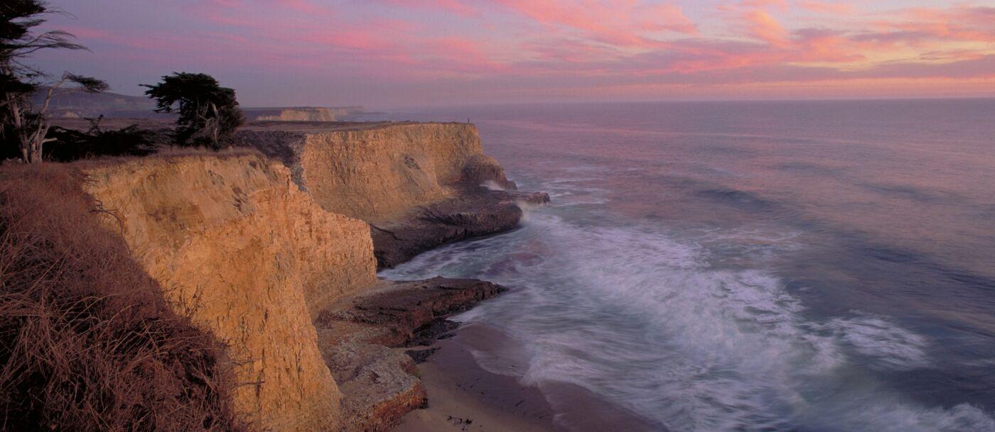 Sunset at coastal cliffs
