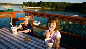 Enjoying dessert at Holbrook's Wharf and Lobster Grille in Cundy's Harbor, ME