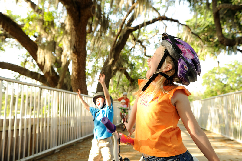 Goofing around along the Orlando Rail Trail, formerly the Dinky Line