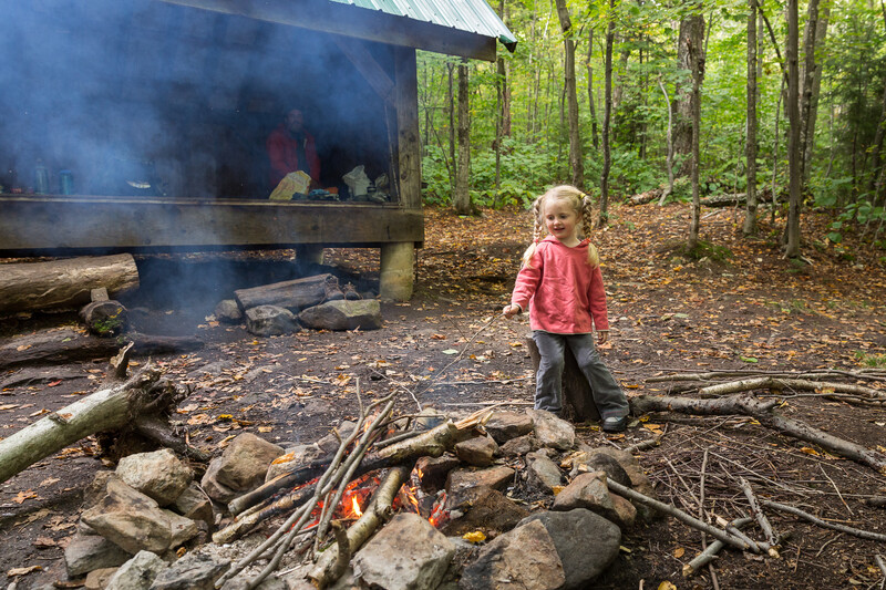 Enjoying a campfire at the Rolston Rest shelter, VT