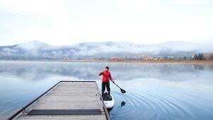 Paddleboarding at MacArthur Lake, Idaho
