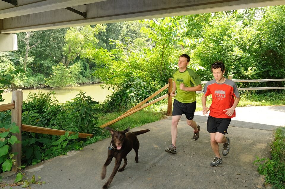 Two guys and a dog jog along the South Chickamauga Creek Greenway in Chattanooga, TN